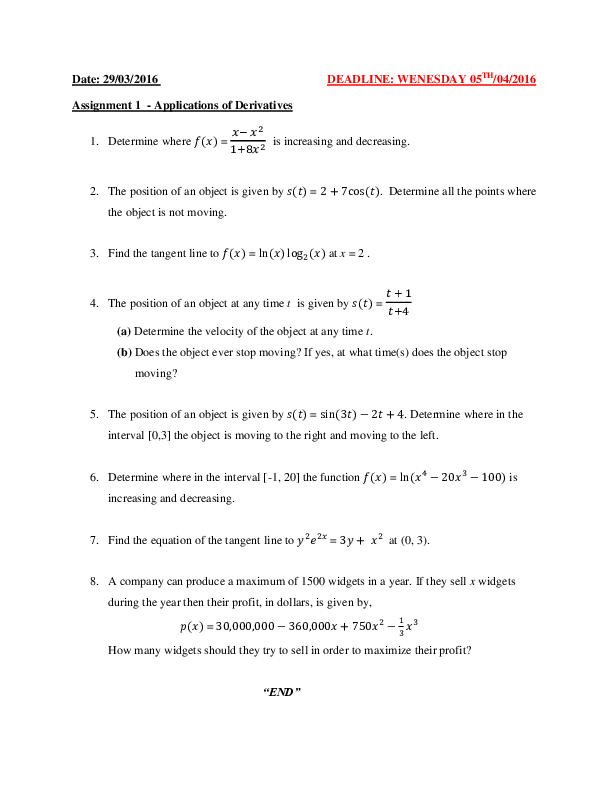 CALCULUS Assignment 1 - Application of Derivatives.pdf