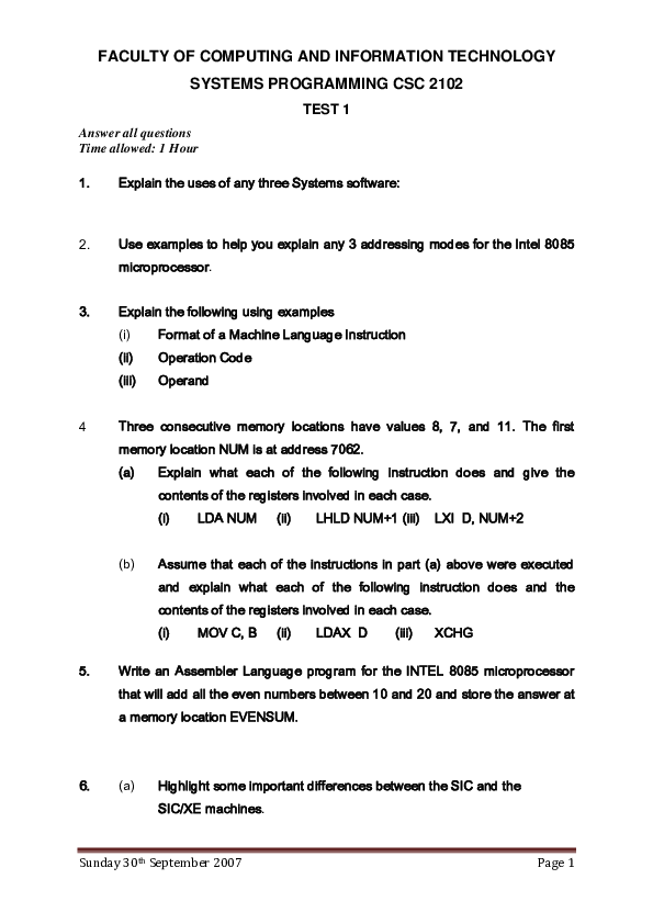 SYSTEMS PROGRAMMING  C2102_2007_tEST1 marking guide.pdf