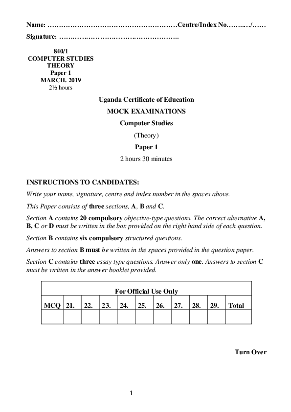S_4 Computer Studies 1 MOCK EXAMINATIONS Uganda Certificate of Education.pdf