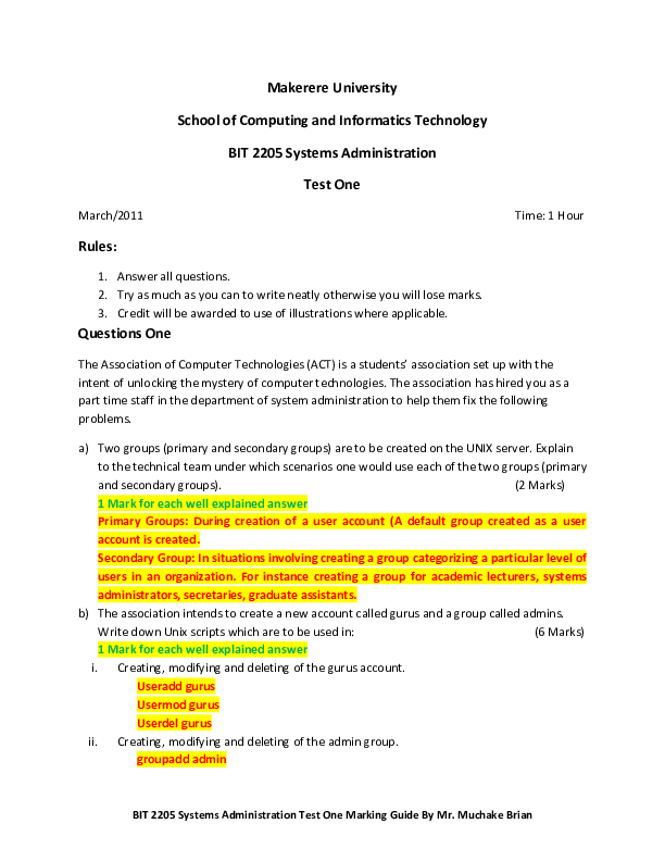 MPP_Systems Administration_Test One Marking Guide.pdf