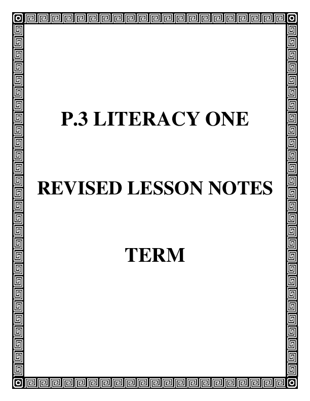 P3 LITERACY ONE  notes term one .pdf